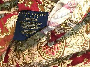 RALPH LAUREN JARDINIERE RED PAISLEY RARE ITALIAN KING DUVET / COMFORTER COVER