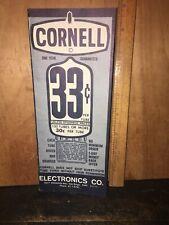 Cornell TUBE RADIO Advertising Brochure Vintage.