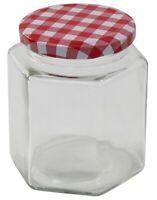 Glass Preserve Jars Jam Chutney Honey Jars Tartan Lid Hexagon Set Of 12 x 180ml