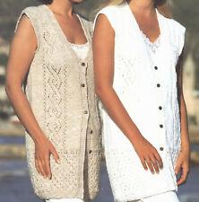 Ladies Longline Gilet Waistcoat Pretty Design DK Knitting Pattern