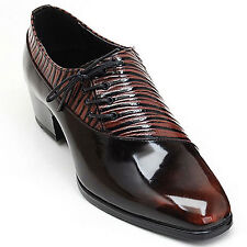 Men's leather side lace up unique wrinkle shape glossy brown dress shoes US 6-10