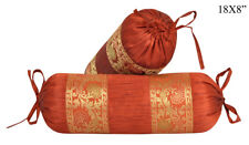 New Round Bolster Silk Sofa Neck Roll Pillow Neck Roll Cushion Cover Set 20x45cm