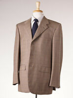 NWT $2795 D'AVENZA Light Brown-Gold-Blue Windowpane Check Wool Sport Coat 42 R