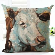 Cow Cattle Farm Animal Linen Square Pillow Cushion Cover.