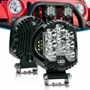 "2X 4.5"" 58W Side Shooter LED Work Light Pod 6000K SPOT FLOOD Combo Off Road Lamp"