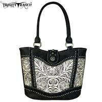 new Montana West Trinity Ranch Floral Tooled Leather Tote Handbag