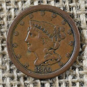 1850 1/2C VF/XF Braided Hair Half Cent