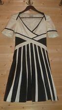 KAREN MILLEN COTTON BLEND LINED IVORY/BLACK DRESS SZ UK 10 US 6 SIDE ZIPPER