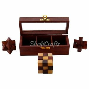 Challenging 3 in 1 Wooden 3D IQ Puzzle Game Set with Glass Lid storage box