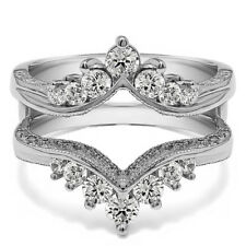 Silver Chevron Style Ring Guard with Millgrained Edges and Filigree(0.74tw)