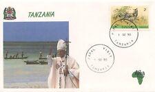 ENVELOPPE VISITE DU PAPE JEAN PAUL II / POSTE VATICANE 1990 TANZANIA TANZANIE