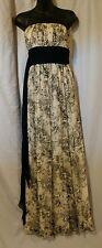 BCBG MAXAZRIA Black and White Maxi Dress Paisley Floral 100%Silk Size8 Strapless
