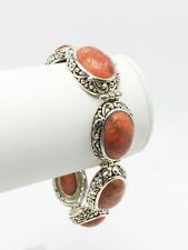 Sterling Silver 925 Large Chunky Oval Red Orange Jasper Gemstome Toggle Bracelet