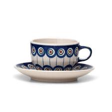 Bunzlauer Keramik Teetasse,Tasse mit Untertasse 200ml Dekor 54A Handarbeit Neu