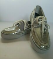 Sperry Top Sider Womens Shoes Size 7 Bahama Silver Sequins Loafers Boat Deck