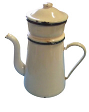 Ancienne grande Cafetière à filtre émail Vintage art deco café couleurs pastel