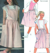 Vtg '84 McCalls 9122*Big Pockets Button Bib Suspenders Jumper Skirt Pattern*7*FF