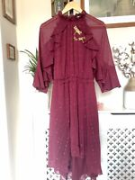 TED BAKER Ammeli dragonfly ruffle midi dress RRP £229 Size 4 UK 14 Chiffon