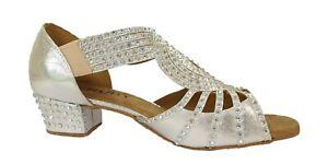 Ladies Silver Diamante Ballroom Shoes