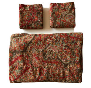 Pottery Barn Carrie Paisley Red Holiday Duvet & Euro Sham Set ~ 3 PCS