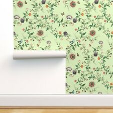 Removable Water-Activated Wallpaper Chinoiserie Tropical Red Chinoiserie Monkey