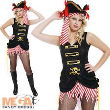 Sexy Pirate Ladies Fancy Dress Caribbean Buccaneer Adult Halloween Costume 10-14