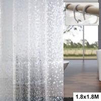 Large Shower Curtain Bathroom 12 Hook Ring Set 180X180Cm Mildew Splash Resistant