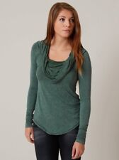 NWT Free People Cosmo Cowl Neck Shirt Fitted Tee Stretch XS  Top Sapphire Green