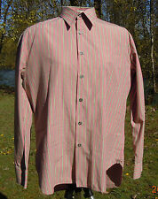 "PAUL SMITH SHIRT L 16 1/2"" X 34"" GREEN STRIPES ON PINK PAUL SMITH SHIRT LARGE"