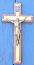 """Antique/Vintage 5 1/4"""" X 10""""  Wood Cross Crucifix Inlaid with Mother of Pearl"""