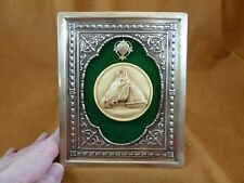 CFL44-10) FRAMED CAMEO Horse head ivory color brass shelf wall desk picture art