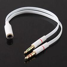 3.5mm Female to 2 Male Headphone Mic Audio Y Splitter - pc laptop cable earphone