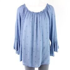 NEW COLLECTION Damen Bluse One Size Blau Tunika Viskose Made in Italy NP 69 NEU