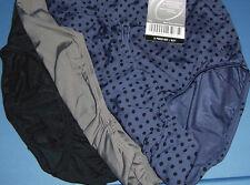 3 Olga Brief Panty Set Without A Stitch Nylon Microfiber Black Blue Size 7 L NWT