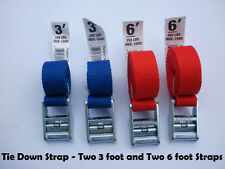 Tie Down and Cargo Straps – Two 3' & Two 6' Tie Down Straps