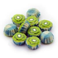4x Miniature Kiwi And Cream Cupcakes With A Blue Paper Cups