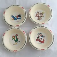 Set of 4 cereal bowls Kelloggs Best to You Each Morning 1995 Tony Rice Krispies