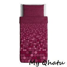 Ikea SMORBOLL Pink Twin Duvet Set Cover and Pillowcase, Dark Pink NEW