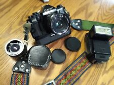 Canon A-1 35mm SLR Film Camera + 28mm lens + Power Winder- Tested + Working