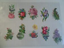 14 Vintage Scraps  Flowers & Leaves Bright Colours  §2