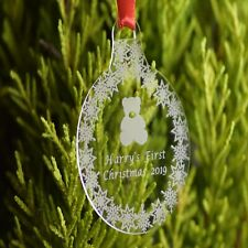 Personalised Christmas Bauble Engraved Tree Decoration Gift stocking baby flower