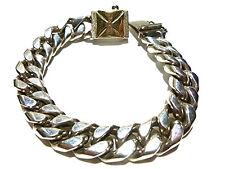 14K Gold Maltese Cross Chain Bracelet Mens Biker Cuban Curb Sterling Silver