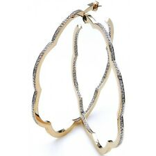 Big chunky gold Designer Hoops earrings Made with Swarovski Crystals New