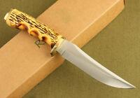 ELK RIDGE Bone Handle Straight Hunting Camping Sharp Fixed Blade Knife + Sheath