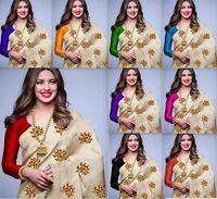 Indian Saree Bollywood Designer Cotton silk sari COLOR Traditional KANJIPURAM MA
