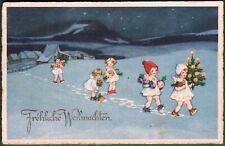 AK, Carl Lindeberg, Engel in der Weihnachtsnacht tragen Geschenke zur Bescherung