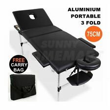 75CM Aluminium Portable Massage Table 3 Fold Beauty Therapy Bed Waxing BLACK