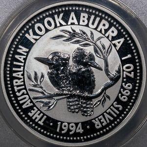 1994 AUSTRALIA KOOKABURRA S$1 ANACS MS70 DCAM BU UNC ANACS CERTIFIED 1OZ SILVER