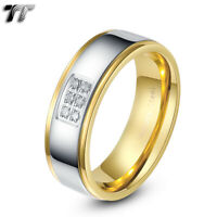 TT Two-Tone Gold Stainless Steel Wedding comfort Band Ring Size 6-15 (R299) NEW