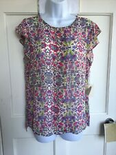 FOREVER 21 PEACH PURPLE PINK FLORAL ELEPHANT TOP SHIRT BLOUSE SIZE 14 BNWT new M